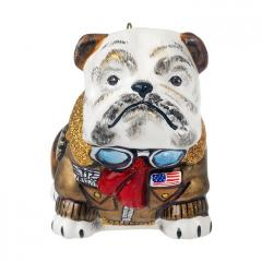 Bulldog in Vintage Bomber Jacket Ornament
