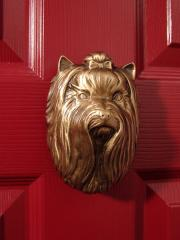 Yorkshire Terrier Broze Dog Knocker shown on Door