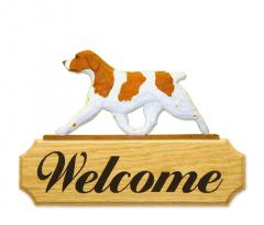 Brittany Dog Welcome Sign - Orange/White
