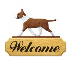 Bull Terrier Dog Welcome Sign - Red/White