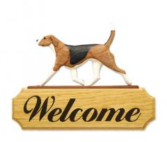 English Foxhound Dog Welcome Sign