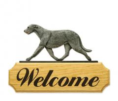 Irish Wolfhound Welcome Sign - Grey