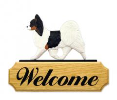 Papillon Dog Welcome Sign - Tri