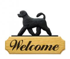 Portuguese Water Dog Welcome Sign - Black