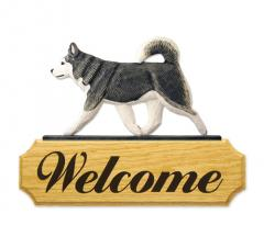 Alaskan Malamute Dog Welcome Sign - Grey/White