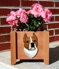 Amstaff Terrier Garden Planter - Red & White