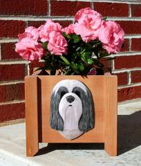 Bearded Collie Dog Garden Planter - Blue & White