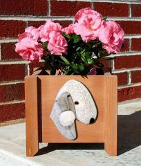 Bedlington Terrier Garden Planter - White