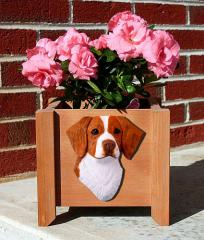 Brittany Dog Garden Planter - Orange & White