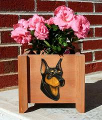 Doberman Pinscher Garden Planter - Black & Tan