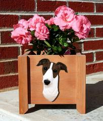 Greyhound Garden Planter - Brindle & White