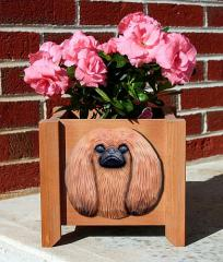 Pekingese Garden Planter - Red