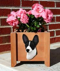 Rat Terrier Garden Planter - Black & White