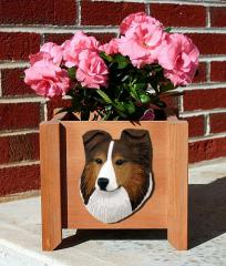 Shetland Sheepdog Garden Planter - Sable
