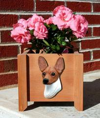 Toy Fox Terrier Garden Planter - Red & White