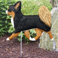 Long Hair Chihuahua Dog Garden Stake - Tri