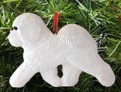 Bichon Frise Dog in Gait Ornament