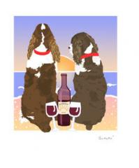 Springer  Spaniel Sunset Dogs