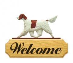 Irish Red and White Setter Dog Welcome Sign