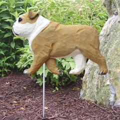 English Bulldog (Tan/White) Garden Stake